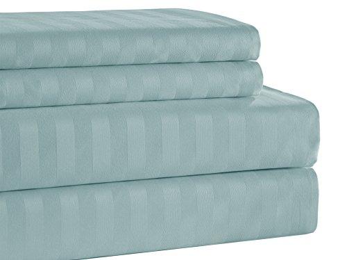 Addy Home ADDY4080 4 Piece T500 100% Egyptian Cotton Damask Stripe Set, King, Sky