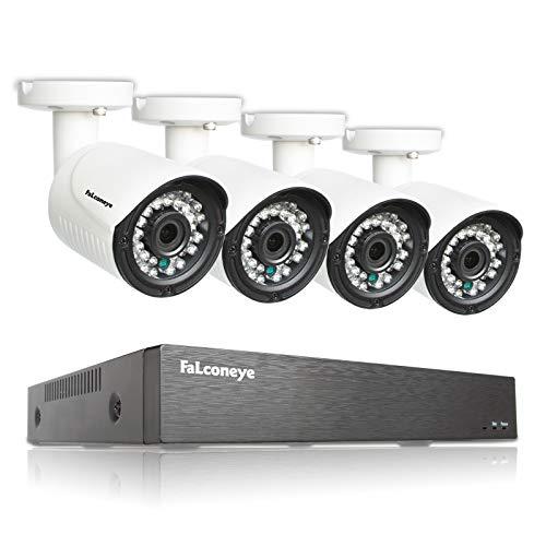 Faconeye 8 Canales 1080P DVR Kit Sistema de cámara de vigilancia con 4pcs 2MP Cámaras Tipo Bala de Seguridad para Interiores y Exteriores Grabación Inteligente Visión Nocturna Acceso Remoto