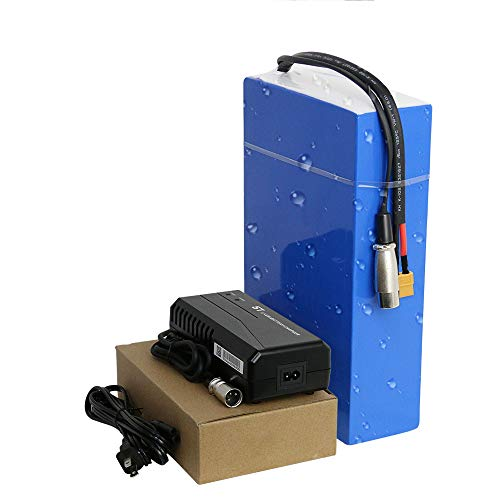 48v/52v Ebike Battery 20 Ah Large Capacity Waterproof Rectangular PVC Lithium Battery Pack for 500w 750w 1000w 1200w 1500w 1800w Adult Electric Bike Conversion Kit (48v 20Ah 250w-1800w)
