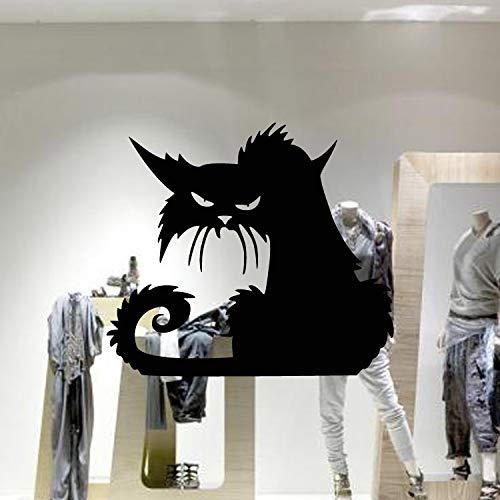 Aw9421 Vinly - Pegatinas de pared de cristal, diseño de gato negro, 42 x 37 cm, color negro