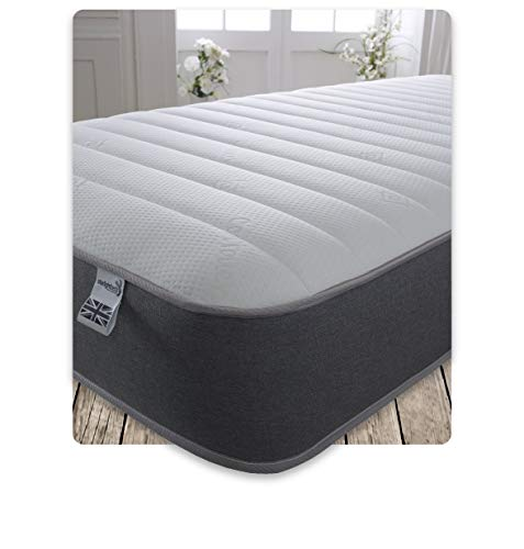 Starlight Beds – 5ft King Size Mattress. 9 Inch Deep Sprung King Size Memory Foam Mattress with a Luxurious Jersey Knitted Fabric and Grey Border (5ft x 6ft6)