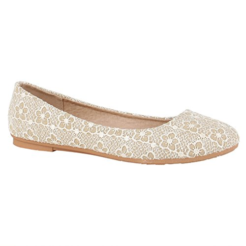 Damen Ballerinas Leder-Optik Flats Übergrößen Ballerina Slip-Ons Nieten Schleifen Freizeit Schuhe 139013 Creme Hellbraun 37 Flandell