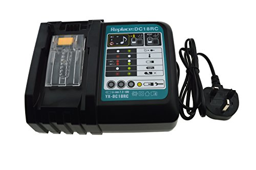 JANRI Replacement DC18RC DC18RA Rapid Power Tools Lithium-Ion Drill Battery LXT Charger 14.4V-18V for Makita BL1430 BL1860 BL1860B BL1815 BL1820 BL1825 BL1830 BL1830B BL1840 UK Plug
