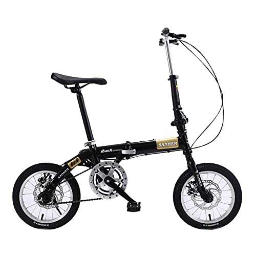 ZXQZ Bicicleta Plegable, Bicicleta Deportiva Al Aire Libre de 14 Pulgadas de Una Sola Velocidad para Uso Urbano, para Hombre Mujer (Color : Black)