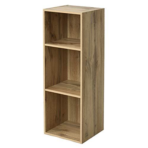 [山善] ラック (スリム) 幅30㎝ 3段 A4対応 隙間収納 (棚板の高さが変えられる/6段まで積み重ねられる) 棚 スリムユニット 組立品 (オーク) SLU-90303(OAK)