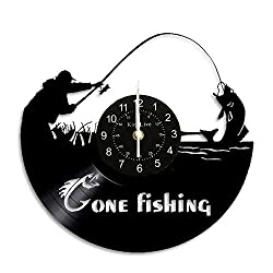 Gone Fishing Vinyl Wall Clock Handmade Vintage Vinyl Record Clock for Fishing Lovers Fisherman Men Gifts Art Gifts Dad Father Decorations Mens Bedroom Fish Accessories Original Home Decora