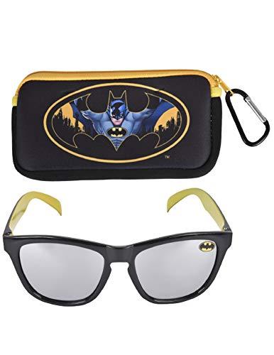 Batman Boy's Retro Squared Sunglasses and Soft Pouch Case Set (Yellow)