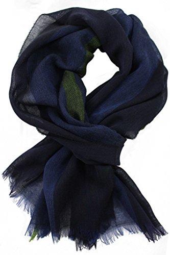 Rotfuchs Echarpe en laine été foulard homme écharpe rayures douces et légères en laine à la mode Made in Germany 180 x 65 cm (vert marine)