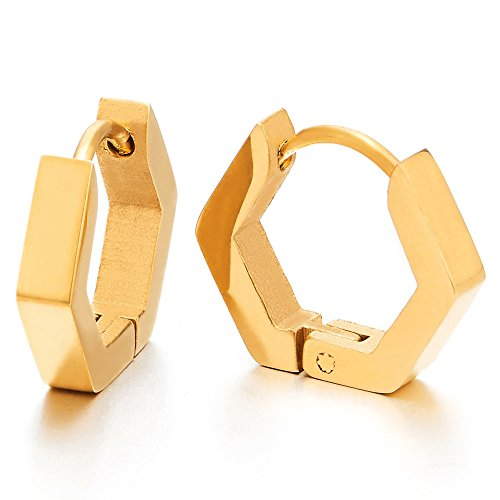 Paar Gold Hexagon Edelstahl Glatte Creolen für Herren Damen, Edelstahl Huggie Ohr Manschette Ohrringe