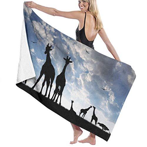 Night-Shop Impresión de Moda Toallas de Playa Silueta de Jirafas sobre Hierba Toallas de baño Toalla de Viaje Toalla para Adultos y niños