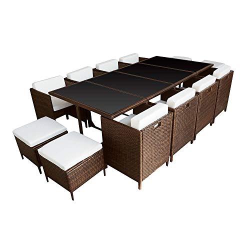 BENEFFITO HABELOCK - Muebles de Jardín de Resina Trenzada Empostrable - 12 Asientos - Marron Beige