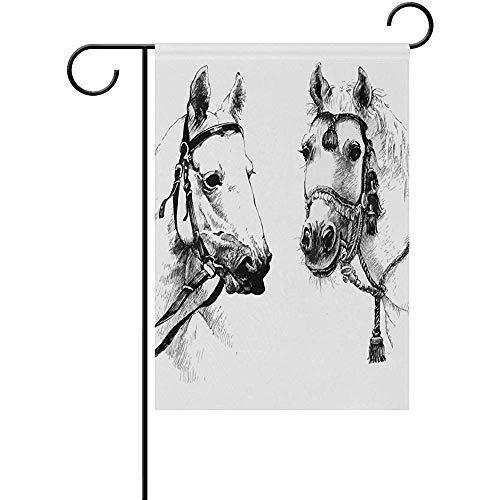 qinzuisp zwarte en witte inkt hand getekende paarden dubbelzijdige tuin vlag vakantie vlag Thuis partij outdoor decoratie St. Patrick's Day