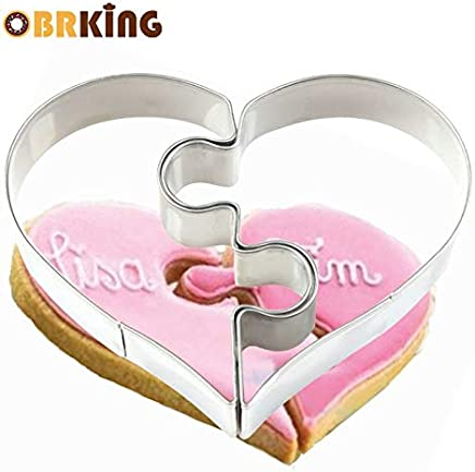 1 piece OBRKING 2Pcs/set Combo Love heart Puzzle Cookie Mould Biscuit Pastry Moulds Party Birthday Fondant Confectionery Tool