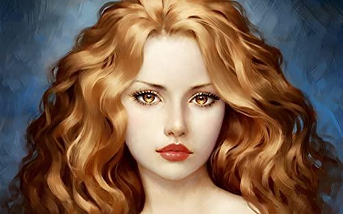 Xpboao Pintar por números - Retrato de Mujer Arte - Lienzo de Lino Pintura al óleo Pintura de Arte Moderno - para Adultos Niños Principiantes - 40x50cm - Sin Marco