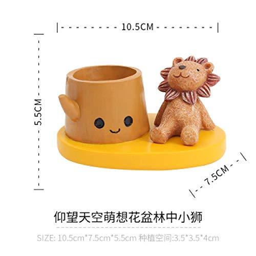 Creatieve cartoon klein dier vlezige mini bloempot kinderkamer desktop niet-poreuze bloem pot raamdecoratie Forest lion king