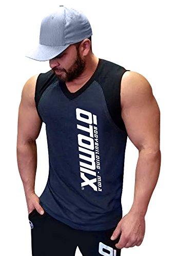 Otomix Men's Black V-Neck Performance Bodybuilding Muscle Shooter (Large)