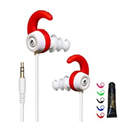 """100% waterproof in-ear headphones made for swimmers of many ages -- IPX8 compliant for submersion up to 10 ft. (3m) Includes five different colors of """"wings"""" (red, blue, green, pink, and black) that allow for a custom look, with one pair of each colo..."""