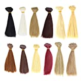 Artibetter 12 Stück Puppenhaar-Perücken, synthetisch, hitzebeständig, langes, glattes Haar,...
