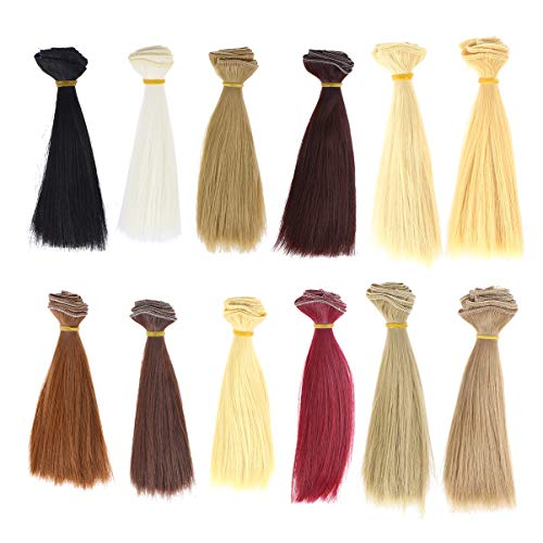 Artibetter 12 Stück Puppenhaar-Perücken, synthetisch, hitzebeständig, langes, glattes Haar, Tressen für Puppenherstellung, Kunst und Handwerk, 100 x 15 cm