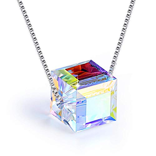 (60% OFF Coupon) Sterling Silver Swarovski Crystal Cubic Pendant Necklace $10.39