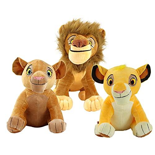 Yasdf 3 Piezas El Rey León Simba Mufasa Nala Juguete De Felpa 27 Cm, Juguetes De Peluche Suave, Muñeco Simba Joven, Regalos para Niños