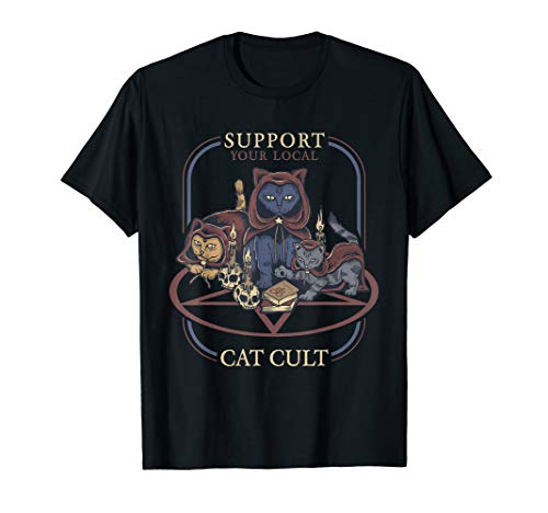 Support Your Local Cat Cult - Retro Occult T-Shirt