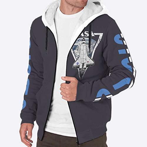 TengmiuXin Herren Outdoor Warm Warme Jacke mit Sherpa-Futter mit Tasche für Vater White XL