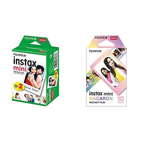Fujifilm Instax Mini Instant Film, 2X 10 Blatt (20 Blatt), Weiß & Mini Frame WW1 Macaron, Bunt
