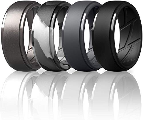 ThunderFit Silicone Wedding Ring for Men, Breathable with Air Flow Grooves - 10mm Wide - 2.5mm Thick (Black, Dark Grey, Grey Camo, Metallic Platinum - Size 9.5-10(19.8mm))