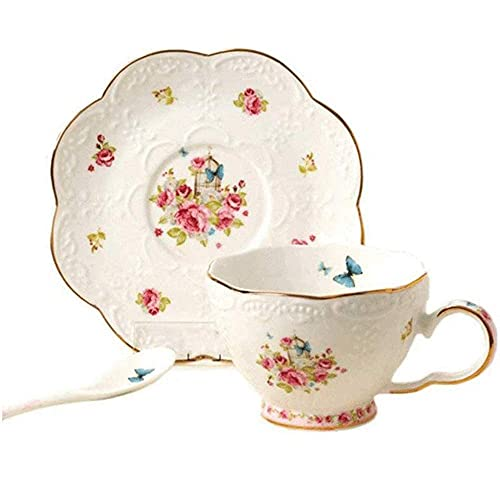 lqgpsx Vintage Rose Embossed Coffee Cuplue Butterfly Painting Golden Edge Bone China Coffee Cup Tea Cup with Saucer,for Household Office 7.1 Ounce,Tea Set Gift