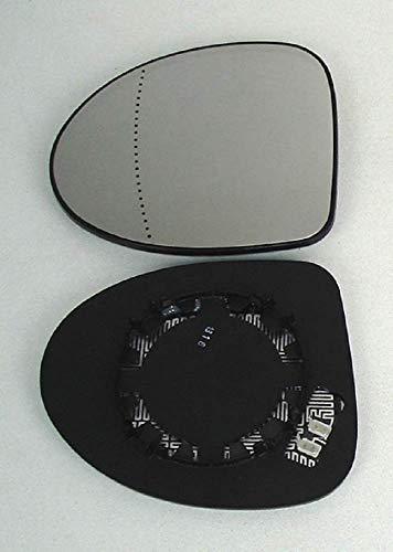 Pro!Carpentis cristal de espejo retrovisor exterior izquierdo compatible con Twingo II tipo CN0 de 03/2007 a 12/2011 asférico calefactable