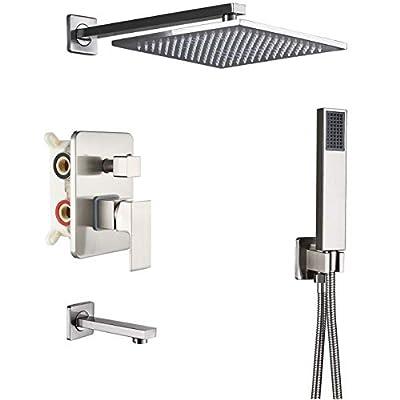 Rozin Brushed Nickel 3-way Shower Kit Bathtub Shower Faucet Set 12-inch Rainfall Showerhead with Hand Spray