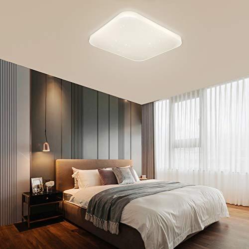 Luz de techo LED Baño Cocina Dormitorio Luces de techo Ducha Sala Comedor Estudio Balcón Pasillo Corredor Lámpara de techo Blanco natural 4000K Cuadrado moderno Impermeable 2050lm 26W LUSUNT