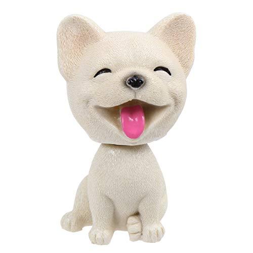 Amosfun Bobble Head Toys Puppy Figure French Bulldog Ornament Dashboard Desktop Cake Decorations for Home Car Baking Office