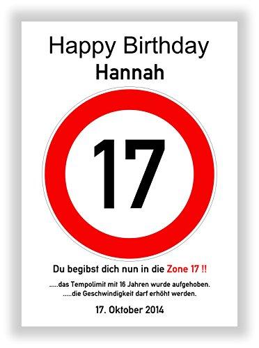 Verkehrsschild - Bild - 17. Geburtstag - Wunschname - personalisiertes Geschenk - Kunstdruck - Geschenkidee