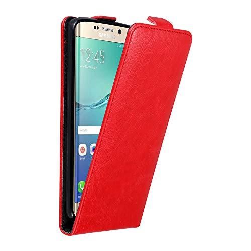 Cadorabo Custodia per Samsung Galaxy S6 EDGE PLUS in ROSSO MELA - Protezione in Stile Flip con Chiusura Magnetica - Case Cover Wallet Book Etui