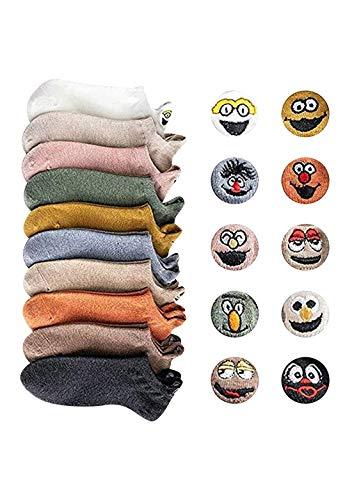 OMZIN 10 Paar Socken Cartoon gestickte Expression Socken Söckchen aus Baumwollmischung für Frauen bequeme und atmungsaktive Lustige Emoji Knöchel kurze Bootssocken