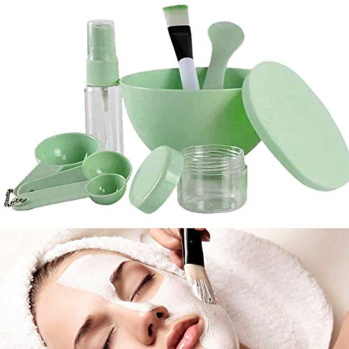 Nuluxi DIY Gesichtsmaske Kit Maske Rührschüssel Gesichtsmaske Spachtel Pinsel Transparente Parfümzerstäuber Maske Schüssel Pinsel Löffel Werkzeuge Zum Gesichtspflege Frauen Gesichtspflege Maske (Grün)