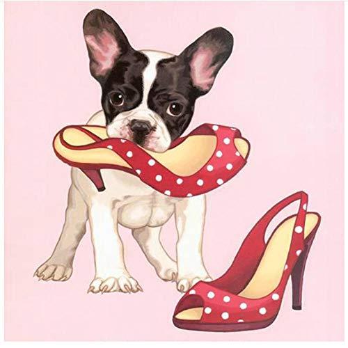 5D DIY diamantschilderij voor boormachine, geborduurd, strip, cartoon, puppy's, hoge hakken, dieren, hobby en handwerk, mozaïek, cadeau voor thuis, decoratie, kruissteek, cadeau 40x40cm