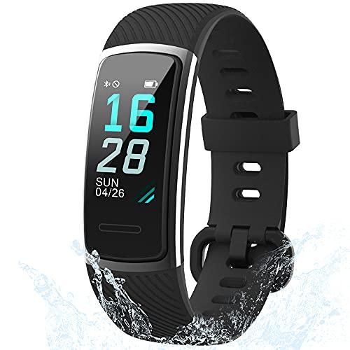 Holabuy Smartwatch, IP68 Impermeabile Fitness Tracker Pedometro Orologio con Cardiofrequenzimetro Fitness Orologio da Polso iOS Android Compatibile per Donne Uomini Bambini (152 nero)