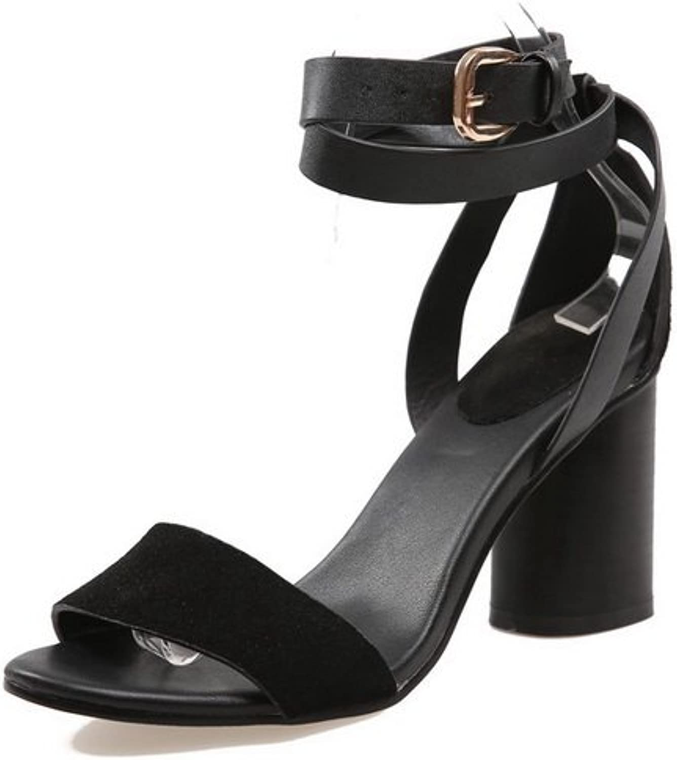 AdeeSu Womens Heeled-Sandals Peep-Toe Buckle Ankle-Wrap High-Heel Not_Water_Resistant Cold Lining Solid Light-Weight Urethane Heeled Sandals SLC03500