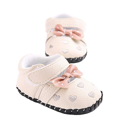 BENHERO Baby Girls Mary Jane Flats Bownot Soft Sole Toddler Infant First Walker Wedding Dress Princess Shoes (0-6 Months M US Infant), B-Ivory