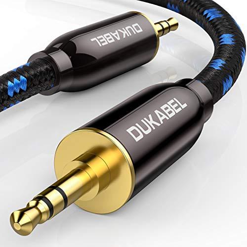 DuKabel HiFi - Cavo audio AUX da 3,5 mm maschio a 3,5 mm maschio audio jack per cuffie, auto, smartphone, subwoofer o home theatre - 1.2 m
