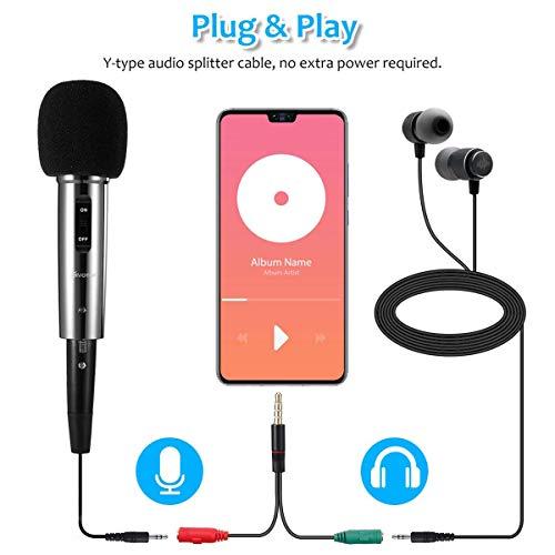 PC Micrófono, EIVOTOR Micrófono de Condensador con Conector de Audio de 3.5 mm, Plug and Play, Adecuado para Computadoras Portátiles, Teléfonos, Canto, Youtube (Negro)