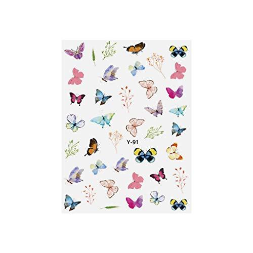 Kanku 3D Nail Sticker Nail Art Water Transfer Sticker Butterfly Decals Summer DIY Manicure (E)