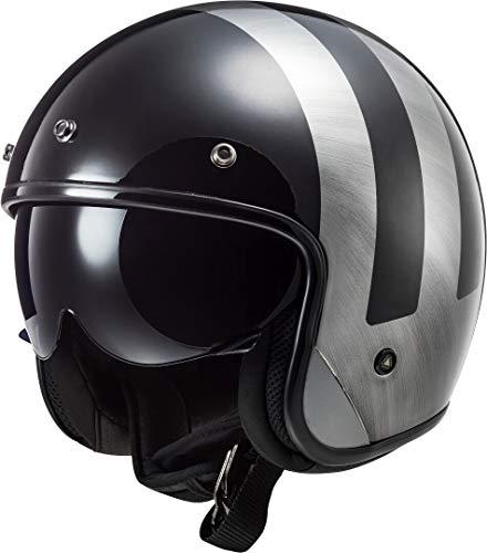 LS2 - Casco jet moto BOB Lines negro vaqueros, XXL