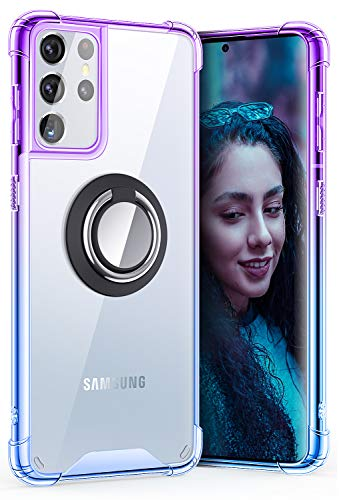 SANKMI Compatible with Samsung Galaxy S21 Ultra Case, Rugged Protector Clear Ring Kickstand and Work with Magnetic Car Phone Mount Bumper Colorful Cases for Galaxy S21 Ultra 6.8 Inch (Purple Blue)