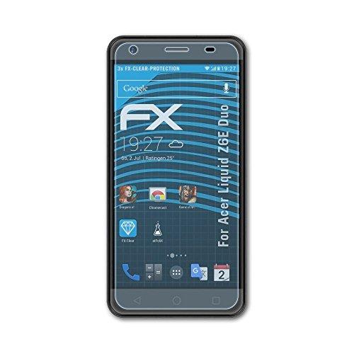 atFolix Schutzfolie kompatibel mit Acer Liquid Z6E Duo Folie, ultraklare FX Bildschirmschutzfolie (3X)