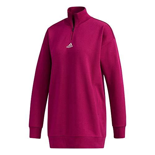 adidas womens Essentials Comfort Elongated 1/4 Zip Pink XX-Large