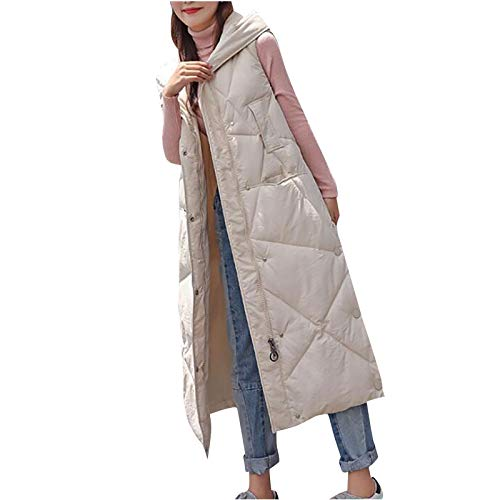 Fcostume Daunenweste Für Damen,Warmer Daunenmantel Mode Mit Kapuze Leichte Gesteppte Weste Medium Lange Dicker Slim Zip Gilet Für Damen Mädchen Winter Outdoor Klettern Reisen